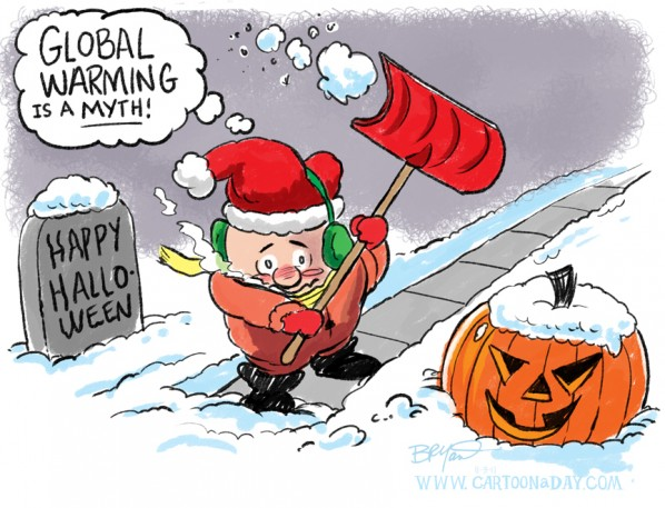 October Snowstorm Global Warming Myths Cartoon