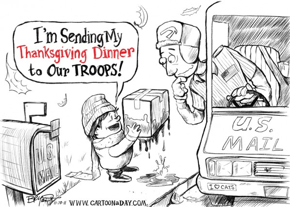 Thanksgiving Dinner for Our Troops Overseas Cartoon