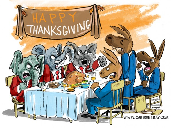 Cartoon Republican Democrat Thanksgiving Dinner