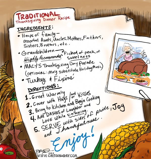 Happy Thanksgiving Family Recipe Cartoon