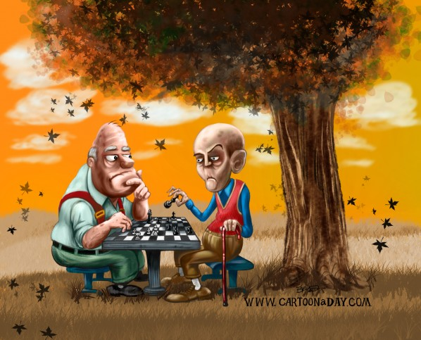 Cartoon Chess In the Park Painting