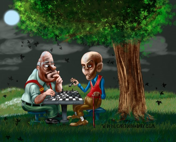 chess-in-the-park-cartoon-night