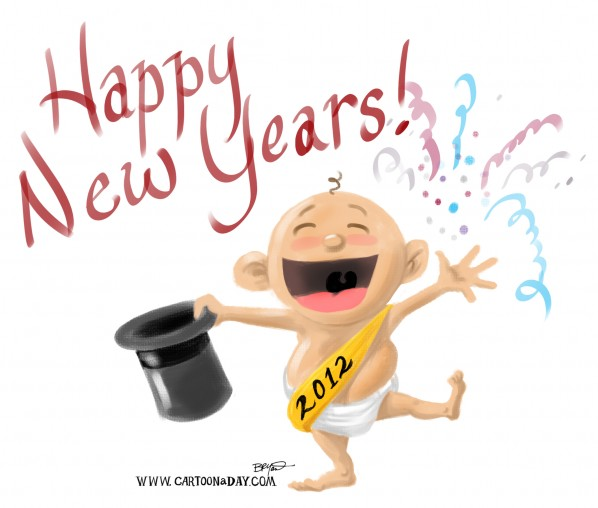 happy new years 2012 cartoon baby