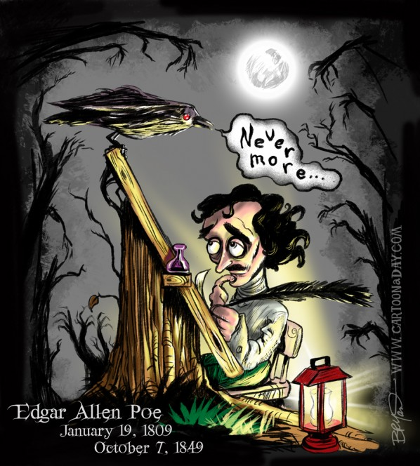 Cartoon Edgar Allen Poe Raven Nevermore