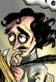 Cartoon Edgar Allen Poe-Raven Nevermore