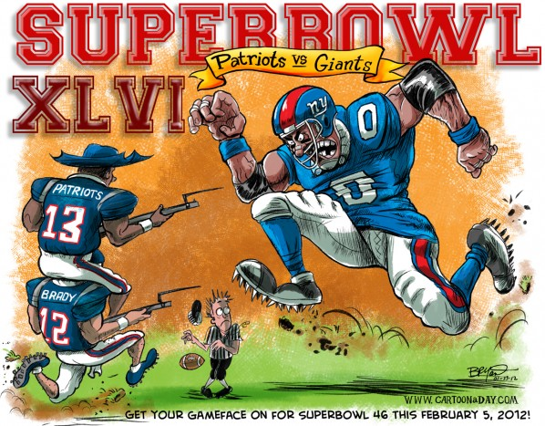 Cartoon Patriots Vs Giants-SUPERBOWL 46 Cartoon