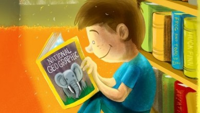 Cartoon Boy Reading National Geographic