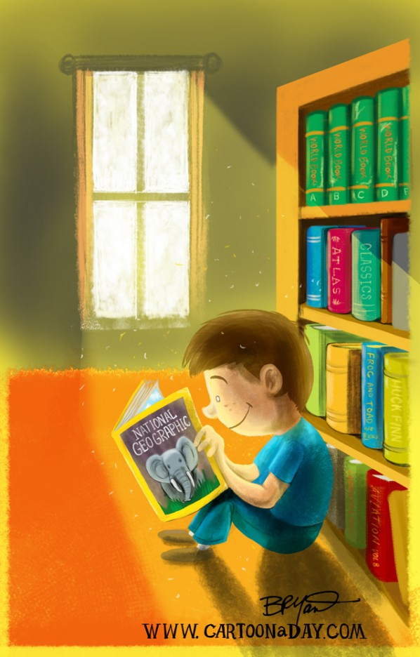 boy-reading-magazine-sunlight