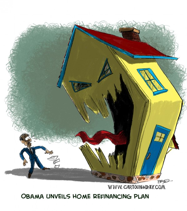 Political Cartoon- Obama unveils home refinancing plan