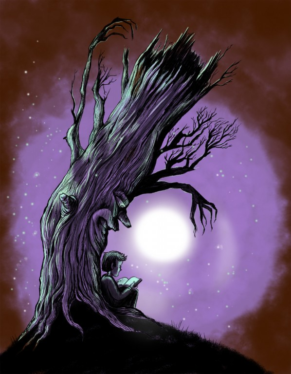 Old Tree Watches Over Boy Reading at Night