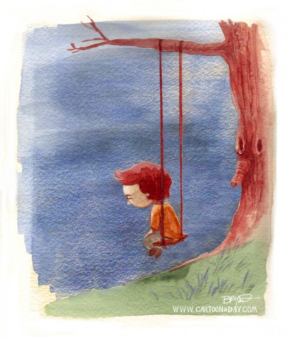 Cartoon Little Boy Alone Swinging