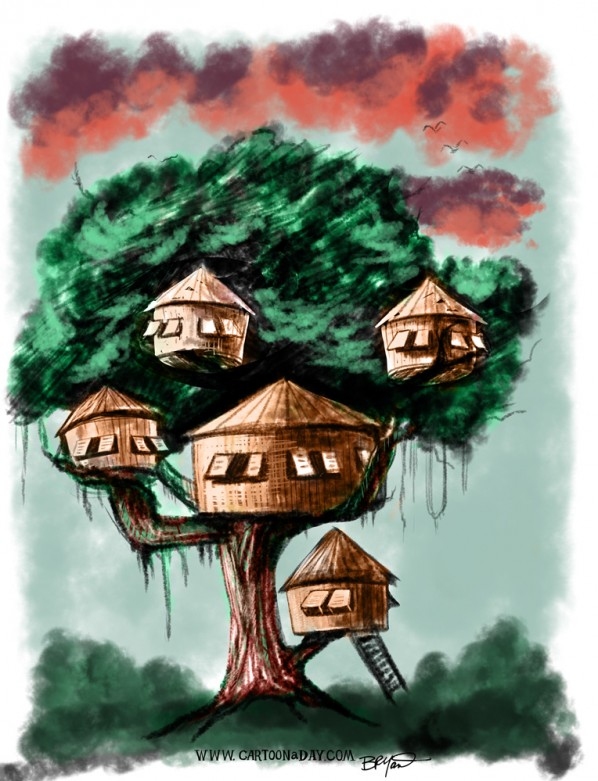 swiss-familyrobinson-treehouse-painting