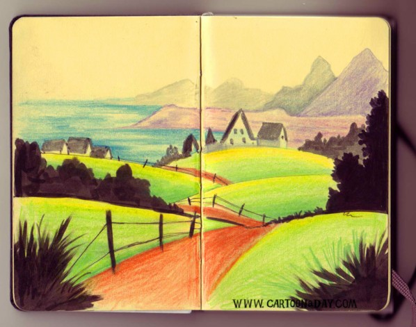 sketchbook-landscape-coastal-town