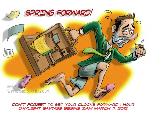 Spring Forward 2012 Cartoon Businessman