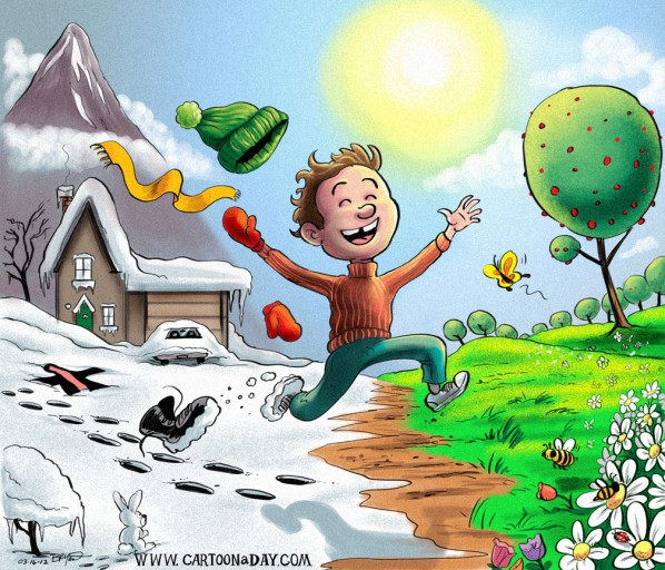 Spring Has Sprung  Cartoon Kid Jumps for Joy
