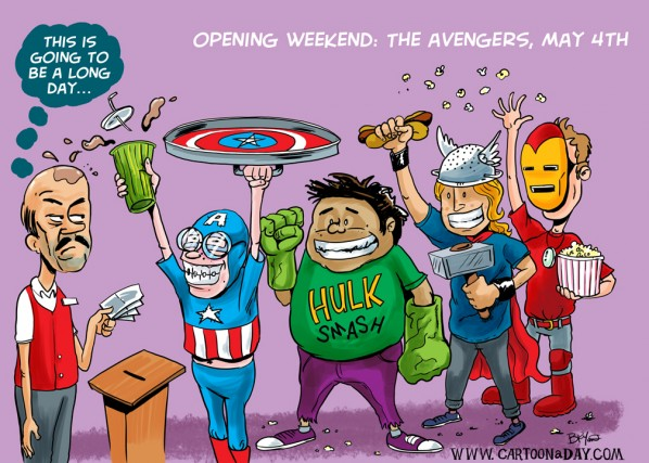 Avengers in theaters Opening Weekend Cartoon