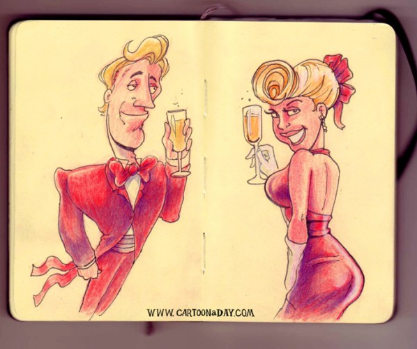 bryant-sketchbook-champagne-couple-cartoon