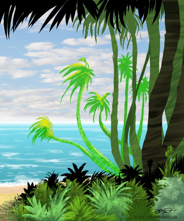 Cartoon Island Paradise Painting