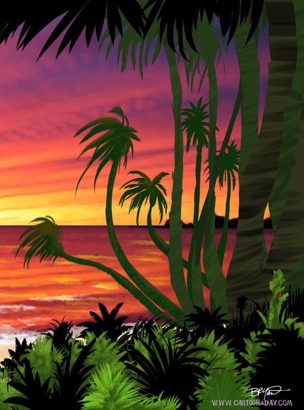 cartoon-paradise-sunset-lagoon-right