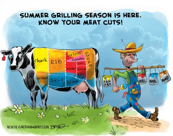 Summer Grill Cow Meat Cuts Cartoon