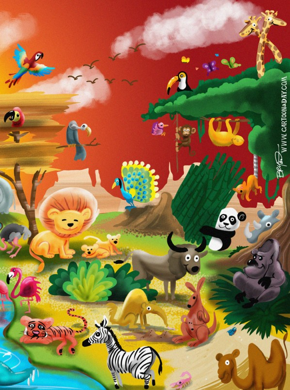 Earth Day Animal Kingdom Cartoon