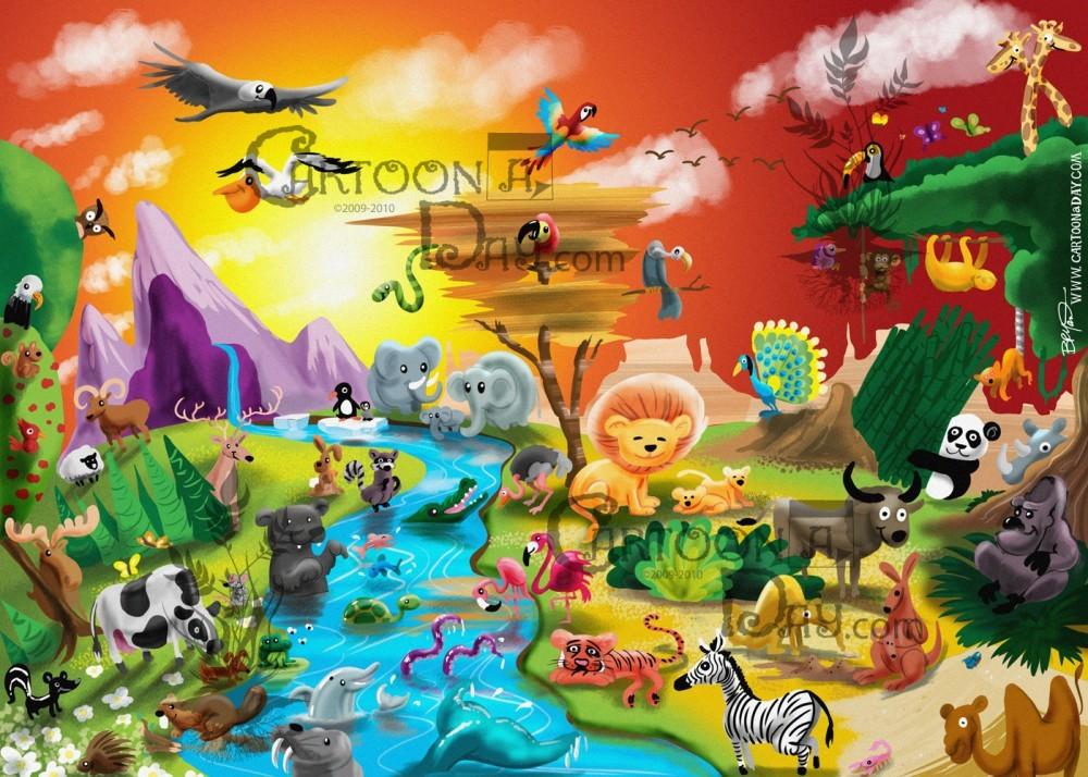 Earth Day 2012 Cartoon Animal Kingdom Cartoon