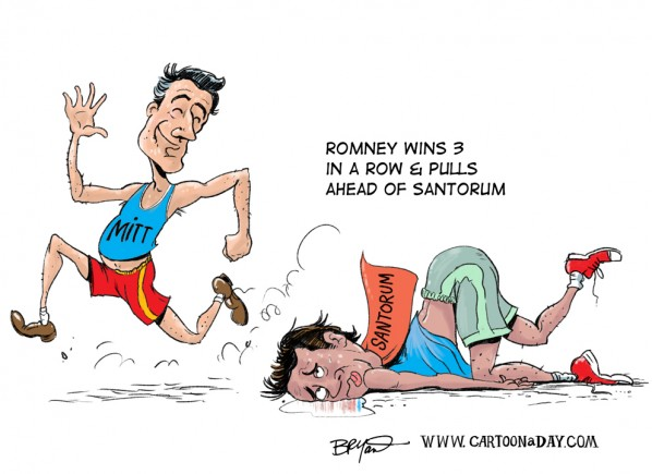 Cartoon Mitt Romney Pulls Ahead of Santorum