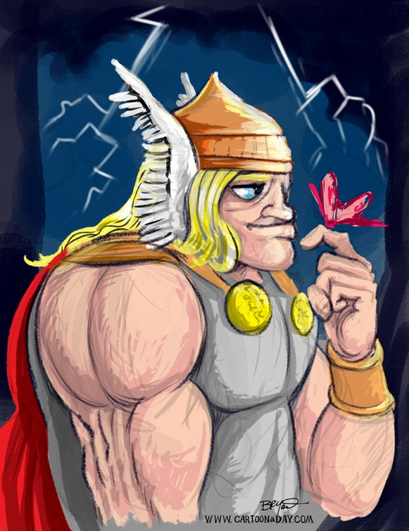 Sketch Cartoon Thor God of Thunder