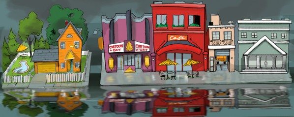 Cartoon City Street Header
