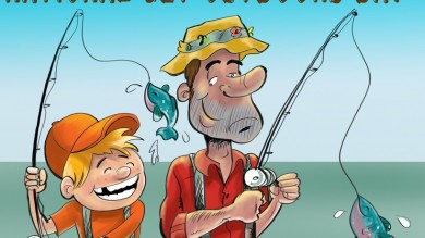 cartoon dad and son fishing Tagged Cartoons
