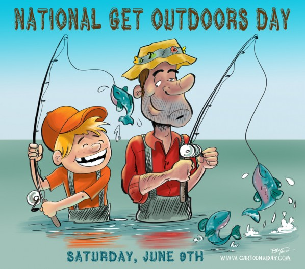 National Get Outdoors Day Cartoon