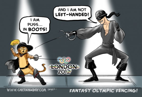 2012 Olympics Fencing Fantasy Team cartoon