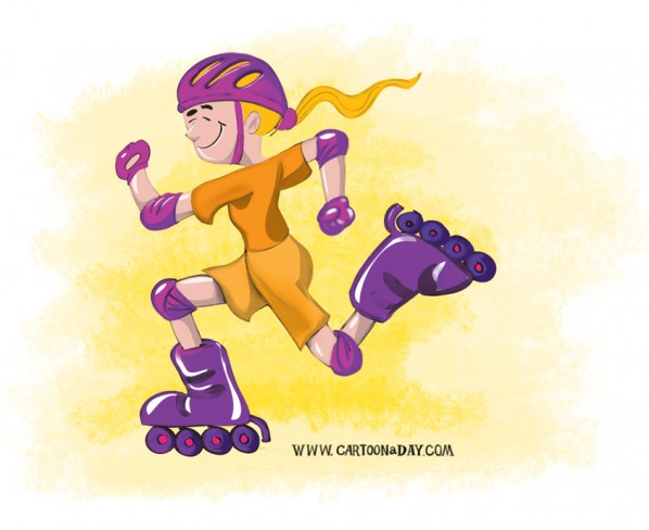 Cartoon Rollerblade Happy Girl