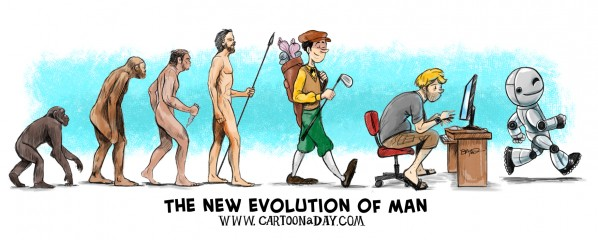 Cartoon a Day Evolution of Man Illustration