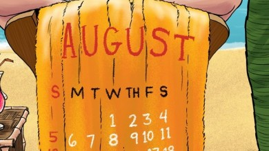 August 2012 Beach Calendar Cartoon
