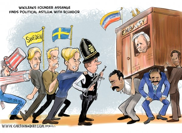 Assange Finds Asylum with Ecuador Cartoon