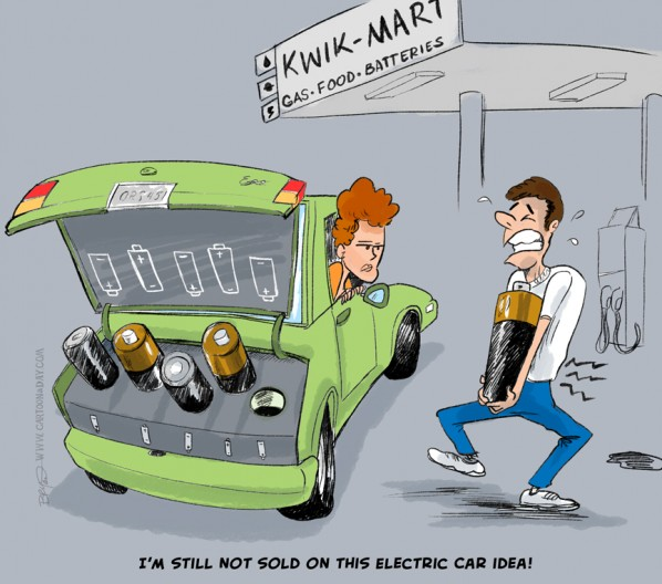 Electric Car Concerns Cartoon Batteries