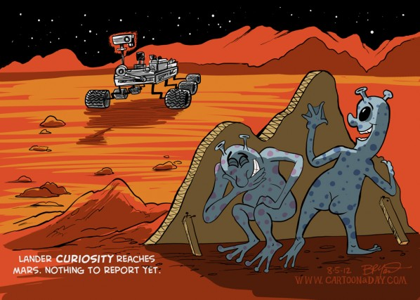 Mars Lander Cartoon Curiosity Lands on Mars