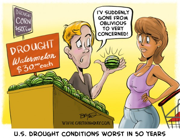 U.S. Drought Cartoon Drought Watermelon