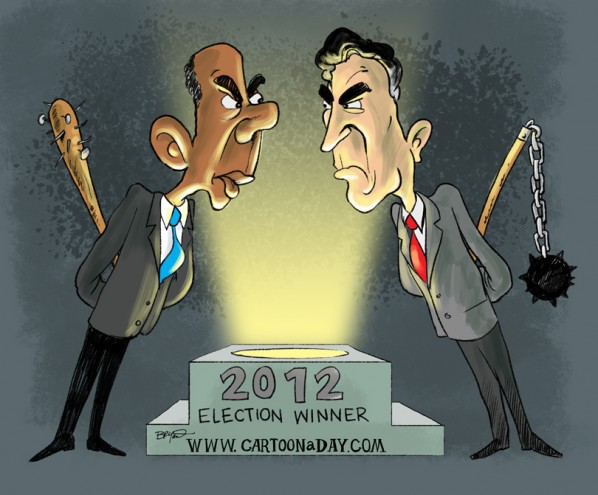 Obama Vs Romney 2012 Presidential Race Cartoon