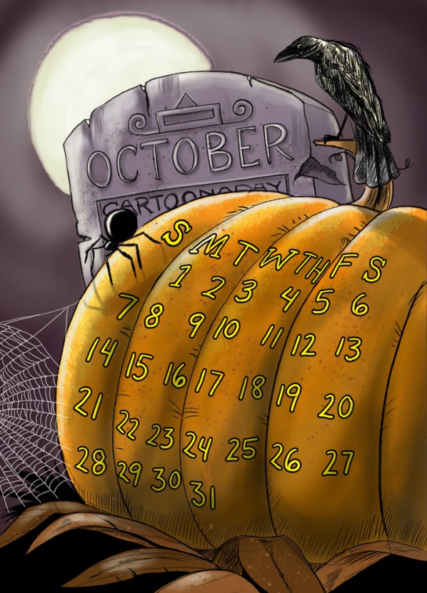 Scary Halloween October Calendar Pumpkin