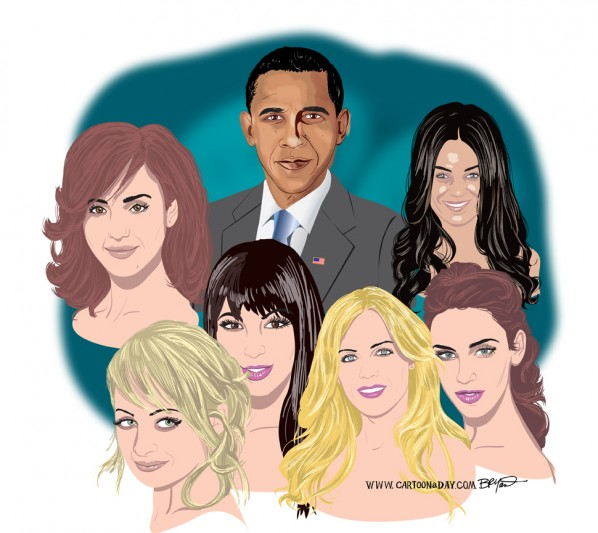 Cartoon Celebrity Portrait with Obama