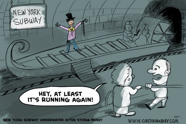 New York Subway Reopens Cartoon