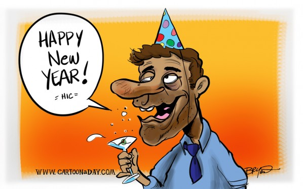 happy new year 2013 cartoon drunk