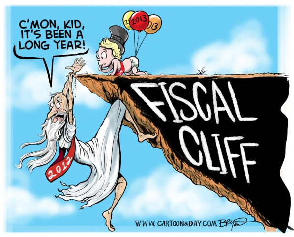 happy new years cartoon fiscal cliff