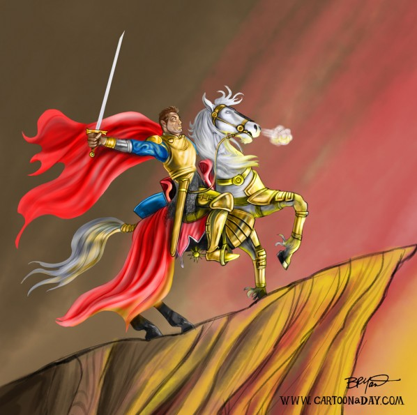 knight-horseback-cartoon-painting
