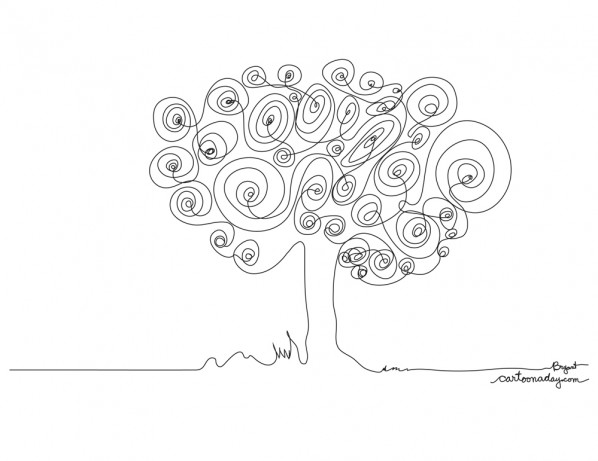 Simple Continuous Line Art : Continuous line drawing tree cartoon
