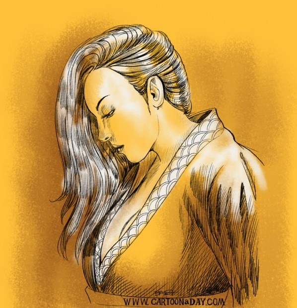 beautiful-japanese-woman-drawing