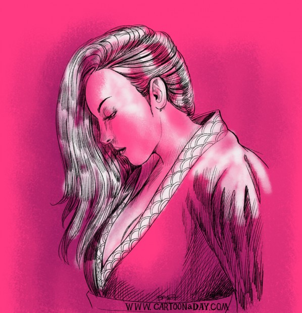 beautiful-japanese-woman-drawing-pink