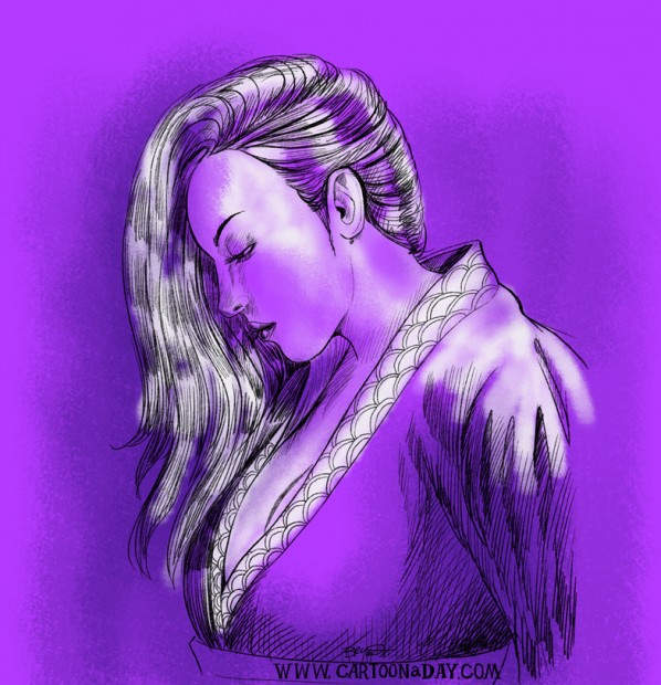beautiful-japanese-woman-drawing-purp